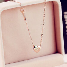 New 14K Rose Gold Stainless Steel Love Heart Letter Key Pendant Chain Necklace