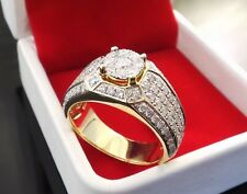 Gorgeous 14K Yellow Gold Filled White Sapphire Ring Men Women's Jewelry Sz 5-11