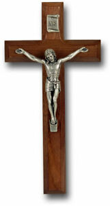"7"" Walnut Cross with Antique Silver Plated Corpus - Crucifix for the wall"