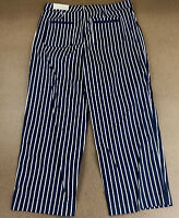Chico's Women's Size 10 Classic Navy & White Striped Wide Leg Crop Pants NWT