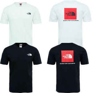 The North Face Mens T Shirt Crew Top TNF Red Box Tee Cotton TShirt T-Shirt Size