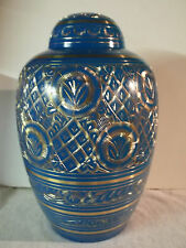 Adult Brass Urn~Extra Large Engraved Sky Blue Dome Top~~sized for up to 300 lb