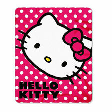"Red Dotted Hello Kitty Fleece Throw Blanket for Kids 46"" x 60"" Inches"