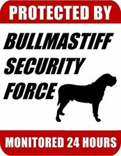 Protected By Bullmastiff Security Force Monitored 24 Hours Laminated Dog Sign