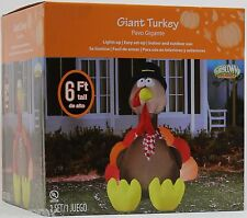 Gemmy Thanksgiving 6 ft Lighted Giant Turkey w/Pilgrim Hat Airblown Inflatable