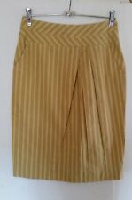 Stunning CUE size 6 skirt, Yellow with taupe stripe corporate/ work has POCKETS
