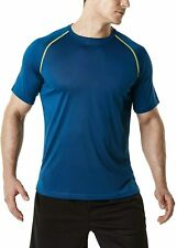 Tsla 1 or 2 Pack Men's Workout Running Shirts, Dry Fit Moisture Wicking