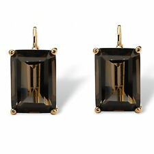 PalmBeach Jewelry 14k Yellow Gold-plated Genuine Smoky Quartz Drop Earrings