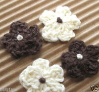 """60 pcs x 3/4"""" Hand Crocheted Cotton Spring Flower Appliques Baby Shower ST443A"""