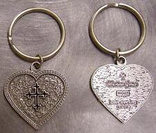 Pewter Key Ring Western Grace Heart Black Cross NEW
