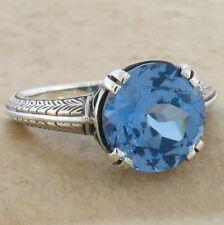 4.5 Ct. Sim Aquamarine Antique Deco Design .925 Sterling Silver Ring Sz 5,#481
