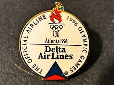 Olympic Games 1996 Atlanta Delta Airlines Lapel Pin Disc Torch White Rings Pilot