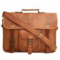 Men's Genuine Vintage Brown Leather Messenger Bag Shoulder Laptop Bag Blogger