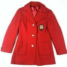 Mister Julius Womens S Vintage Red Coat Wool Jacket Crest Pocket Union Workers