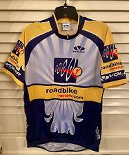"VOLVER Zip Front Pro Road Biking Shirt ""Roadbike Review"" Size XL Navy/Yellow/Gry"