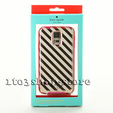 Kate Spade Hard Cover Case for Samsung Galaxy S5 Diagonal Stripe Gold/Cream/Pink