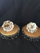 2~Vintage Heisey Crystal Box Brass Like Lid with Figural Flower Topper