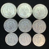 9 Coin Lot Nazi WW2 German Reichspfennig Zinc Swastika Coins Buy 3 Get 1 Free