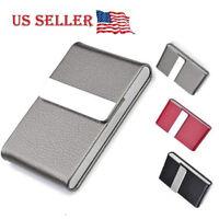 Stainless Steel Slim Pocket  leather Business Card Holder Case ID Credit Wallet