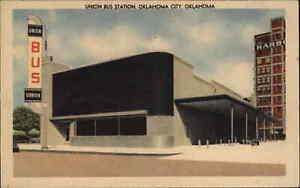 Oklahoma City OK Union Bus Station Art Deco Architecture Linen Postcard