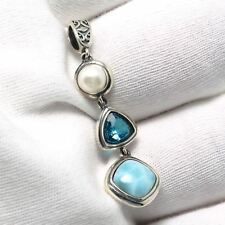 925 Sterling Silver Topaz Natural Dominican Larimar Gemstones Necklace Pendant