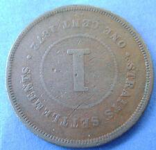 Straits Settlements -  1 cent one cent 1872 Queen Victoria KM# 9
