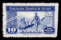 ASOCIACIÓN BENÉFICA DE CORREOS CARTERO RURAL 1944 ⭐ SIN VALOR POSTAL ⭐ 10 CTS