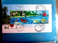 COCOS LIVING MOSAIC FDC WITH BLOCK OF 8 STAMPS WITH 4 DIFFERENT PICTORIAL POSTMA