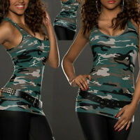 Sexy Lady Summer Camo Vest Top Sleeveless Blouse Casual Tank Top T-shirt S-2XL