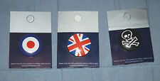 3 Metal Button Badges NEW Union Jack, RAF, Skull & Crossbones (Pyramid Posters)