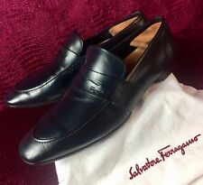 57f8bb9f865  760.00 Mens Salvatore Ferragamo Blue Leather Loafers Sz 12 US Made In ITALY