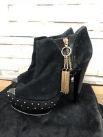 Kurt Geiger KG Ladies Size 39 EU 6 UK Black Gold Cone Heeled Ankle Boots Shoes