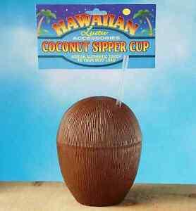 Coconut Brown Hawaiian Luau Tropical Beach Pool Theme Party Favor Plastic Cup