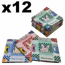 Childrens Handkerchiefs - 12 pack Cartoon Animals 25x25cm Hankies - Cotton Hanky