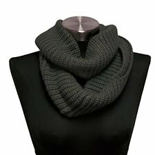 Gray Women's Infinity Loop Scarf Ribbed Cable Knit Shoulder Shawl Winter Ware