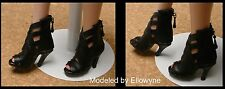 DOLL Shoes, Custom 50mm BLACK Wild Cat Heels for Ellowyne / Tyler / HH Marley