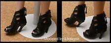 DOLL Shoes, Custom 50mm BLACK Wild Cat Heels for Ellowyne / Tyler / HH Marley