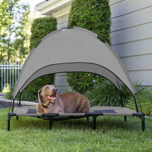 Outdoor Camping Dog Bed with Canopy Elevated Pets Cats Mesh Bed for Summer