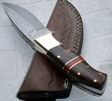 Custom Handmade Damascus Steel Knife Bushcraft Walnut Wood Handle Hunting Knives