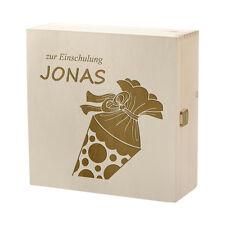 Boîte de trucs en bois incl. GRAVURE motif cornet scolaire pour scolarisation