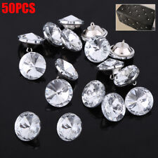 50pcs Crystal Diamond Effect Sofa Headboard Upholstery Sewing Buttons 25mm US