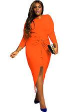 Plus Size Orange Knotted Slit Long Sleeve Maxi Dress club work wear  size 16-18