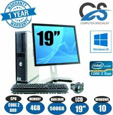 Windows 10 ORDENADOR PC de sobremesa JUEGO COMPLETO Core 2 Duo @ 3.00ghz & 19''
