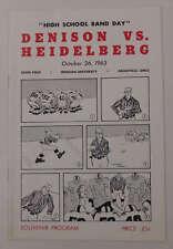 Denison vs Heidelberg Deeds Field Football 1963 Program J64920
