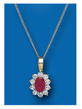 Ruby Pendant Ruby Necklace Yellow Gold Ruby Pendant Natural Ruby Cluster Pendant