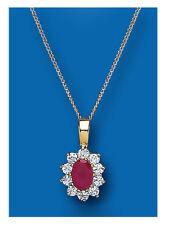 Rubí Colgante Collar Oro Amarillo Ruby Natural Rácimo