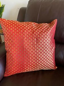 """Pillow cover/ Cushion Cover,Silk, Brocade 18""""cover for 20 inch Pillow, Red, Gold"""