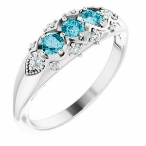 London Blue Topaz & 1/8 CTW Diamond Three-Stone Ring In Platinum