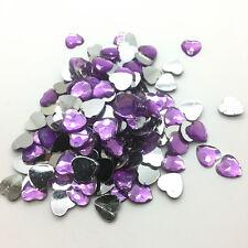200pcs 6mm Heart-Shaped Resin Rhinestone Gems Flat Back Crystal Beads Purple