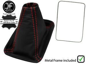 RED STITCH LEATHER GEAR BOOT+METAL FRAME FOR TOYOTA MR2 MK1 AW11 1985-1989